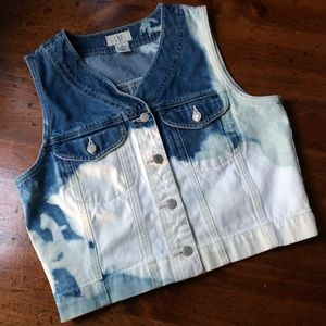 Vintage Gap Custom Distressed Denim Jean Vest med